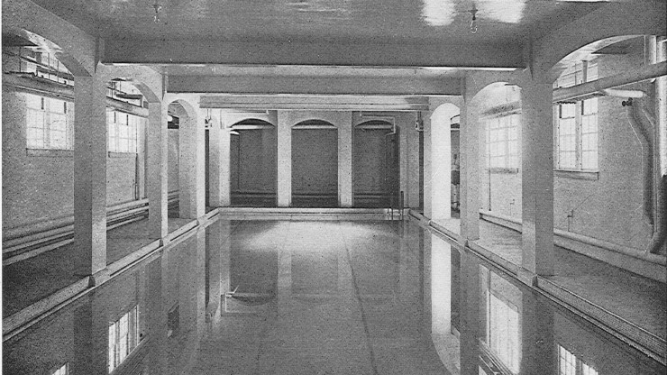 Swimming pool located in Memorial Hall during the early years