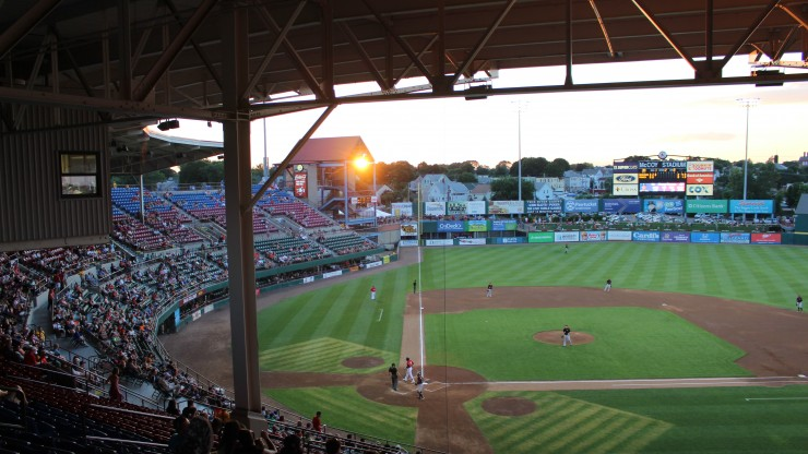 A view of the field during a Pawtucket Red Sox game at McCoy Stadium.
