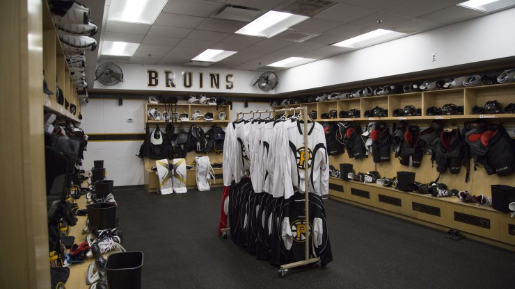The inside of the Providence Bruins locker room located in the Dunkin Donuts Center.